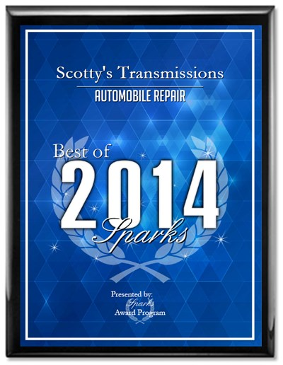 Scottys Transmissions Receives 2015 Best of Sparks Award